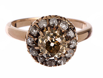Champagne Cluster Diamond Ring