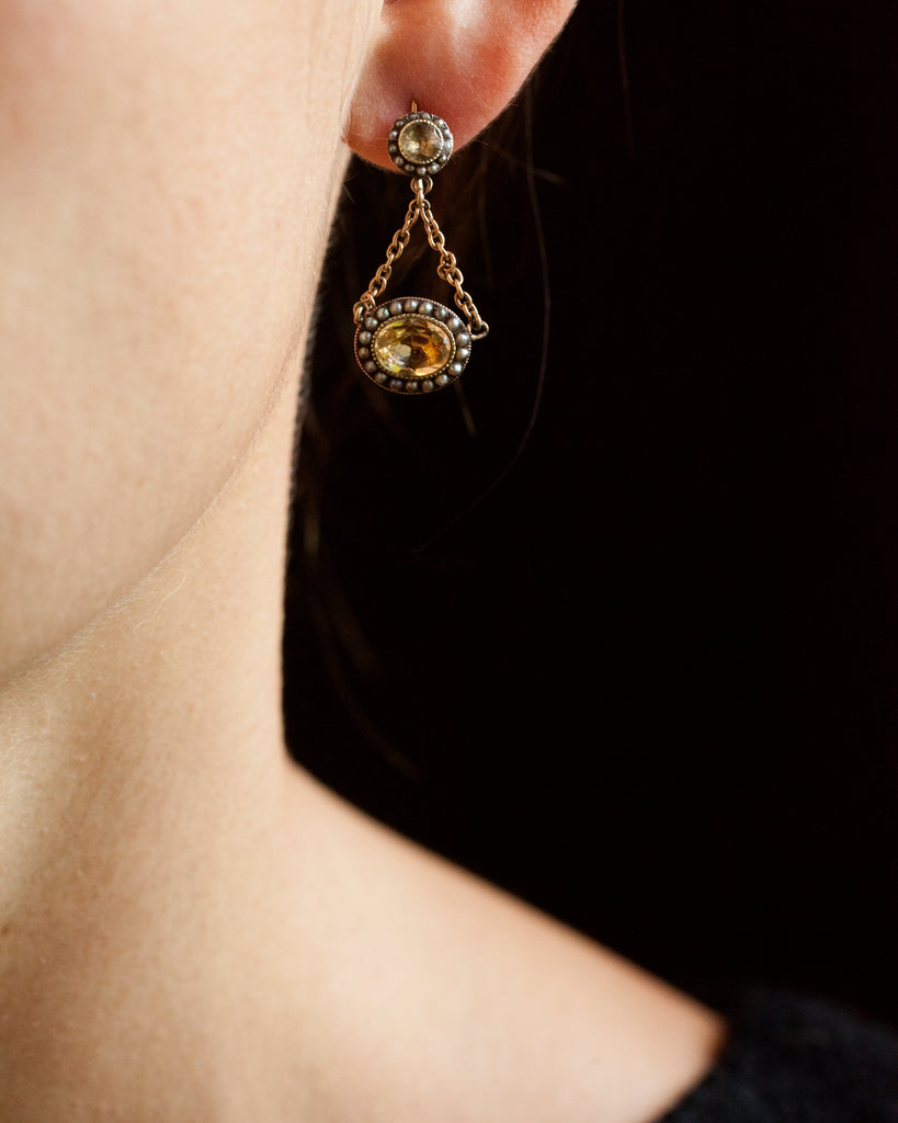Georgian Era Citrine and Pearl Earrings