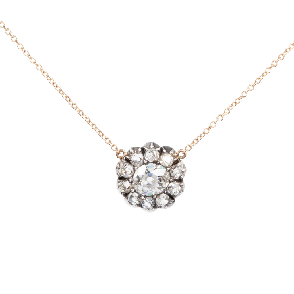 19th Century Old Mine Cut Diamond Cluster Necklace