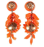 Coral Dahlia and Pomegranate Earrings