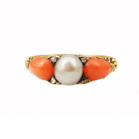 Victorian Coral & Pearl Ring