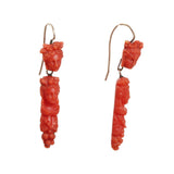Early Victorian Carved Coral Earrings