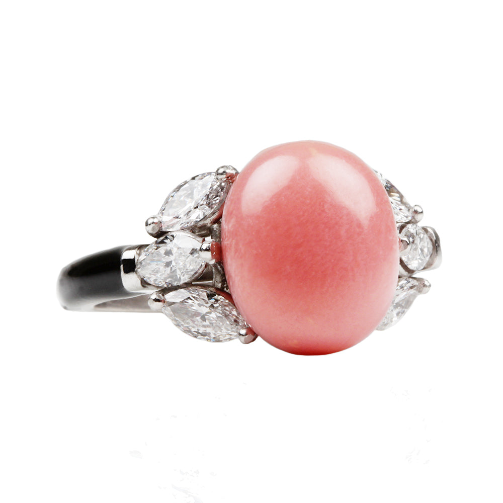 Custom Conch Pearl and Diamond Ring | Bell and Bird