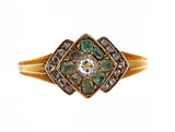 Victorian Diamond Ring with Emeralds