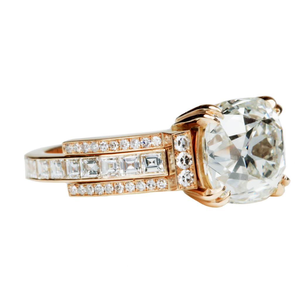Custom 3.89CT Cushion Cut Diamond Ring