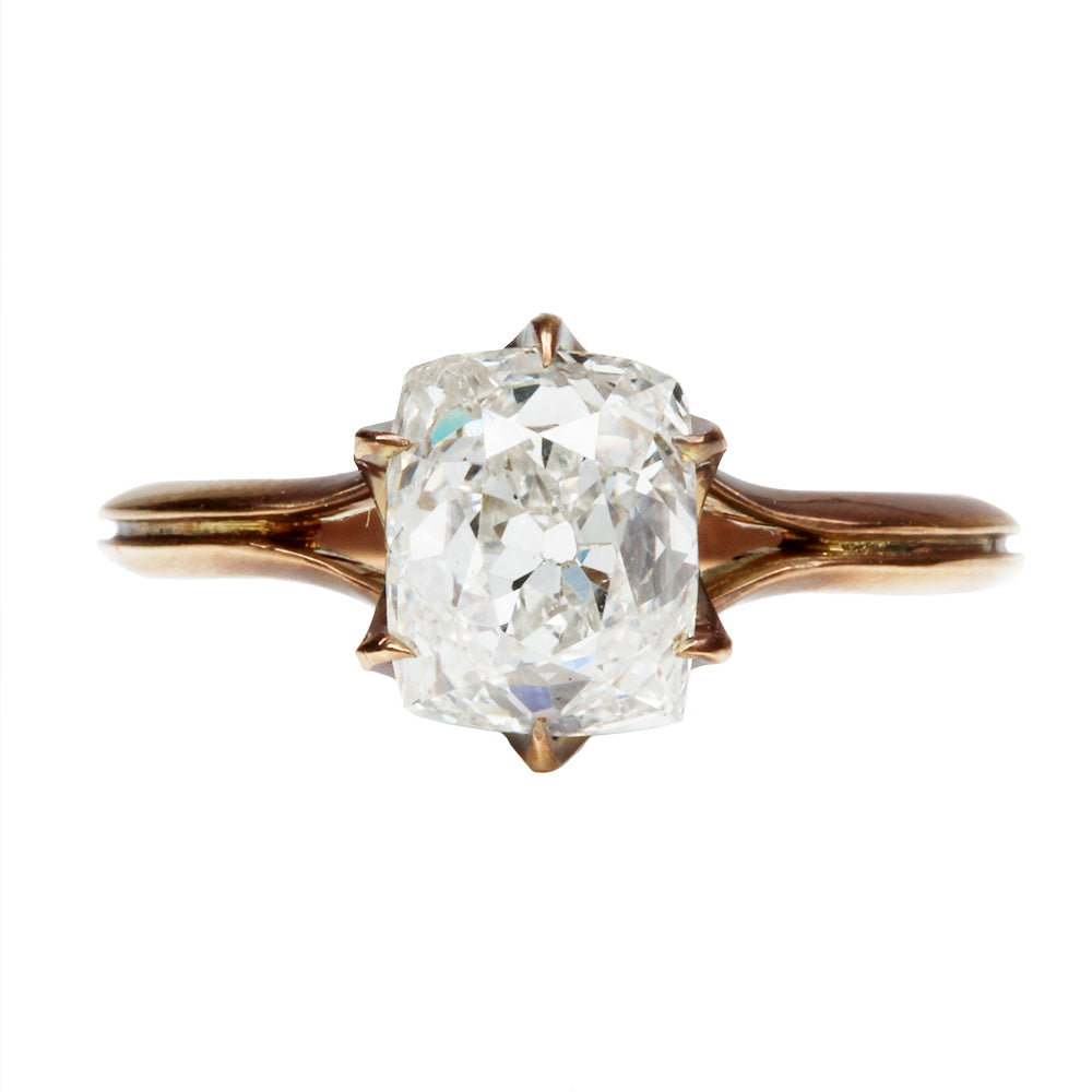 Custom Old Mine Cut Diamond Solitaire Ring