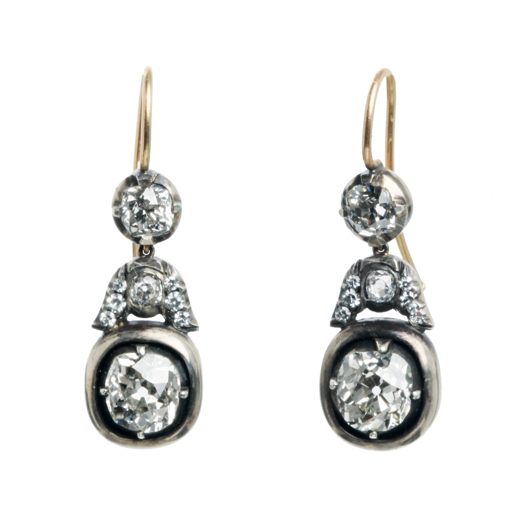 Custom Old Mine Cut Diamond Earrings