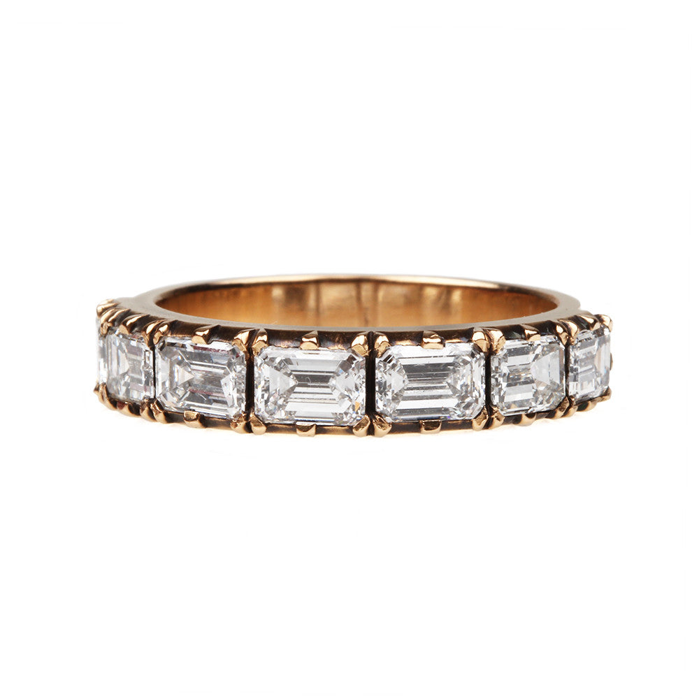 Emerald Cut Diamond Half Hoop Band