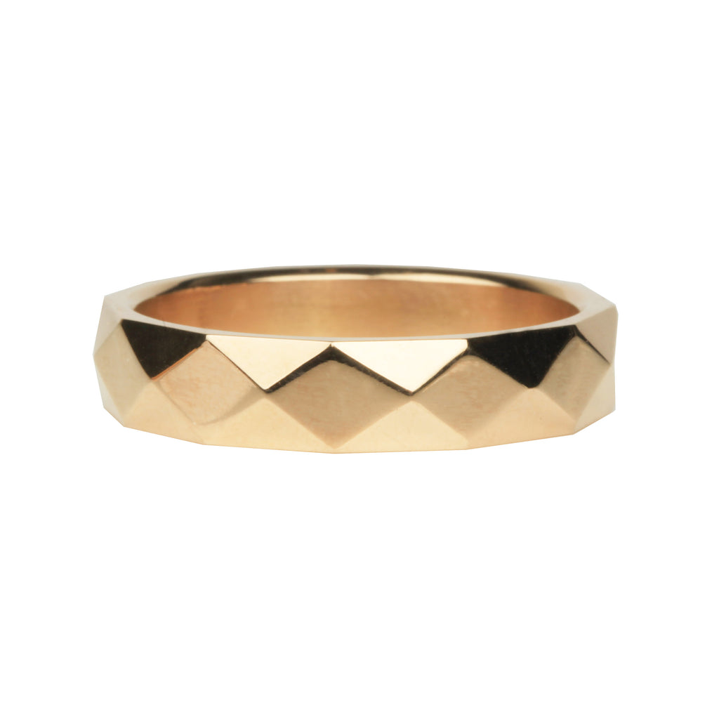 Men's Faceted Wide Gold Band