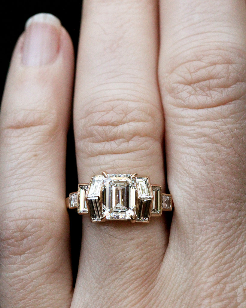 Pitched Baguette and Emerald Cut Diamond Ring