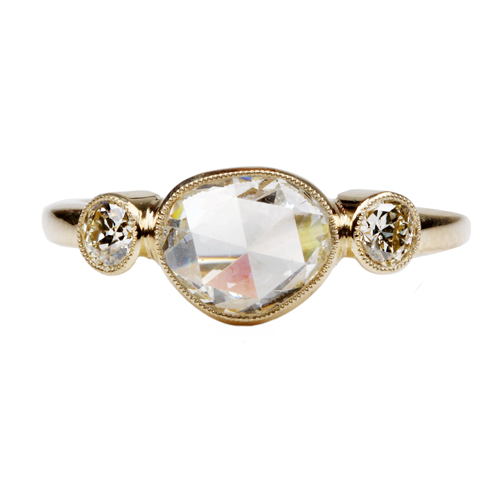 Bezel Set Three Stone Rose Cut Diamond Ring