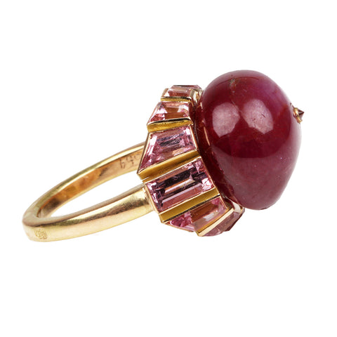 Custom 19th Century Ruby and Pink Spinel Ring