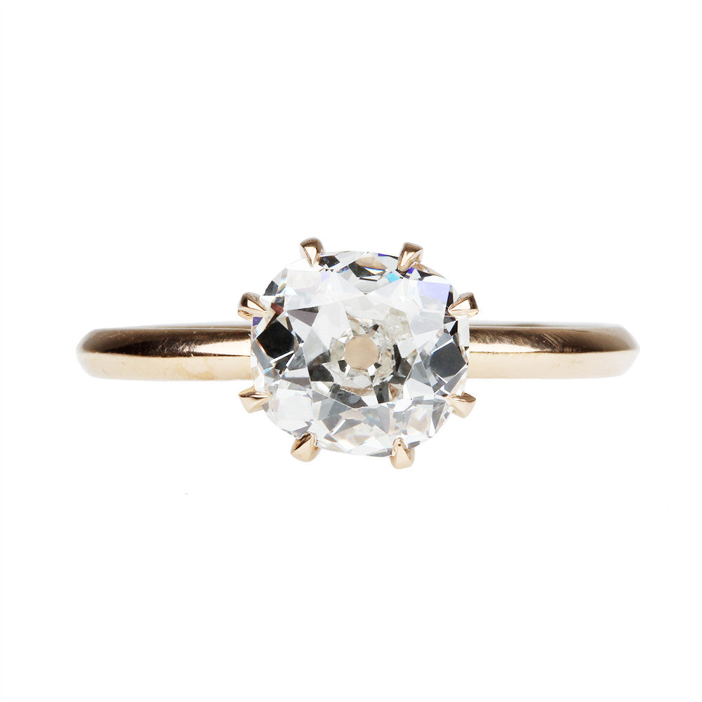 Eight Prong Low Profile Old Mine Cut Diamond Solitaire Ring