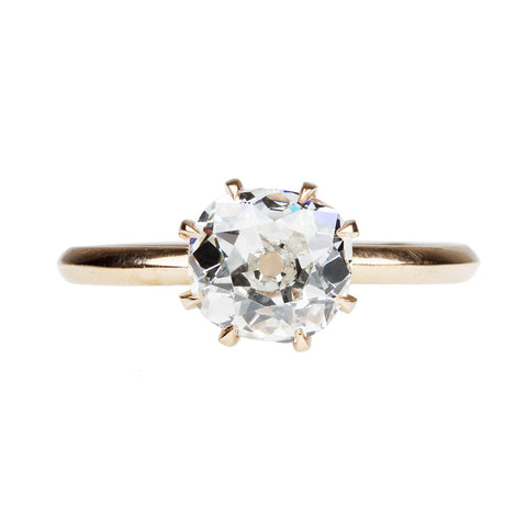 Custom Old Mine Cut Solitaire Ring