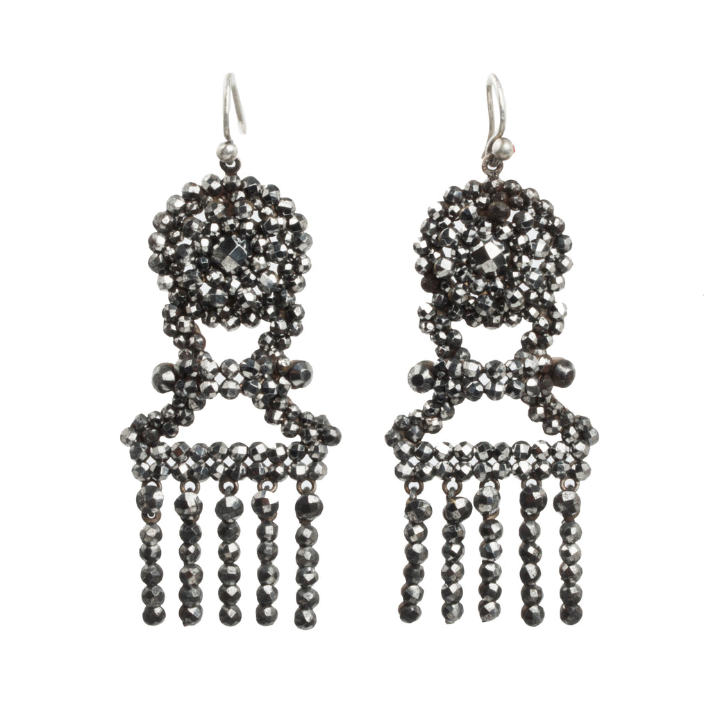 Victorian Era Cut Steel Tassel Earrings
