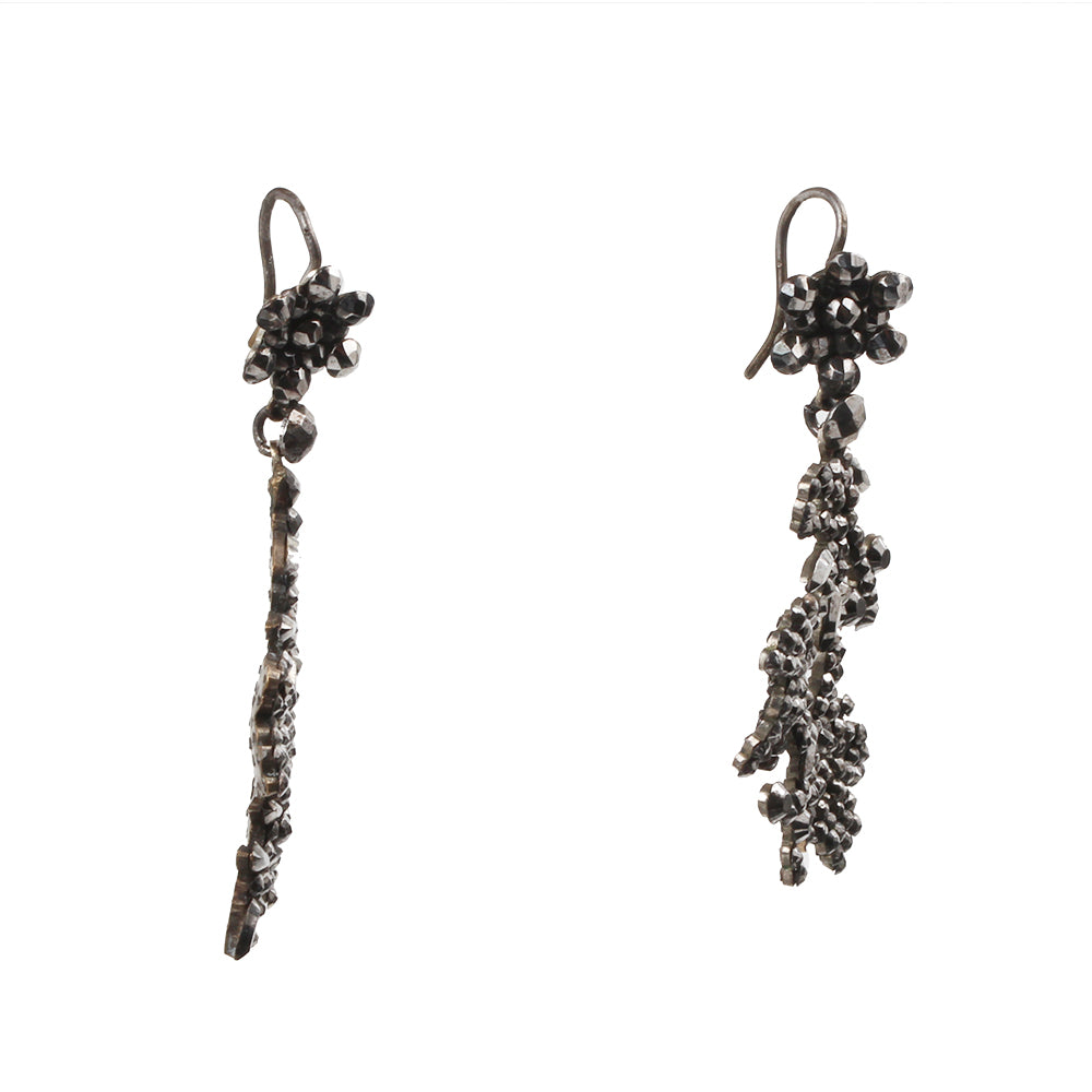 Early Victorian Cut Steel Floral Earrings