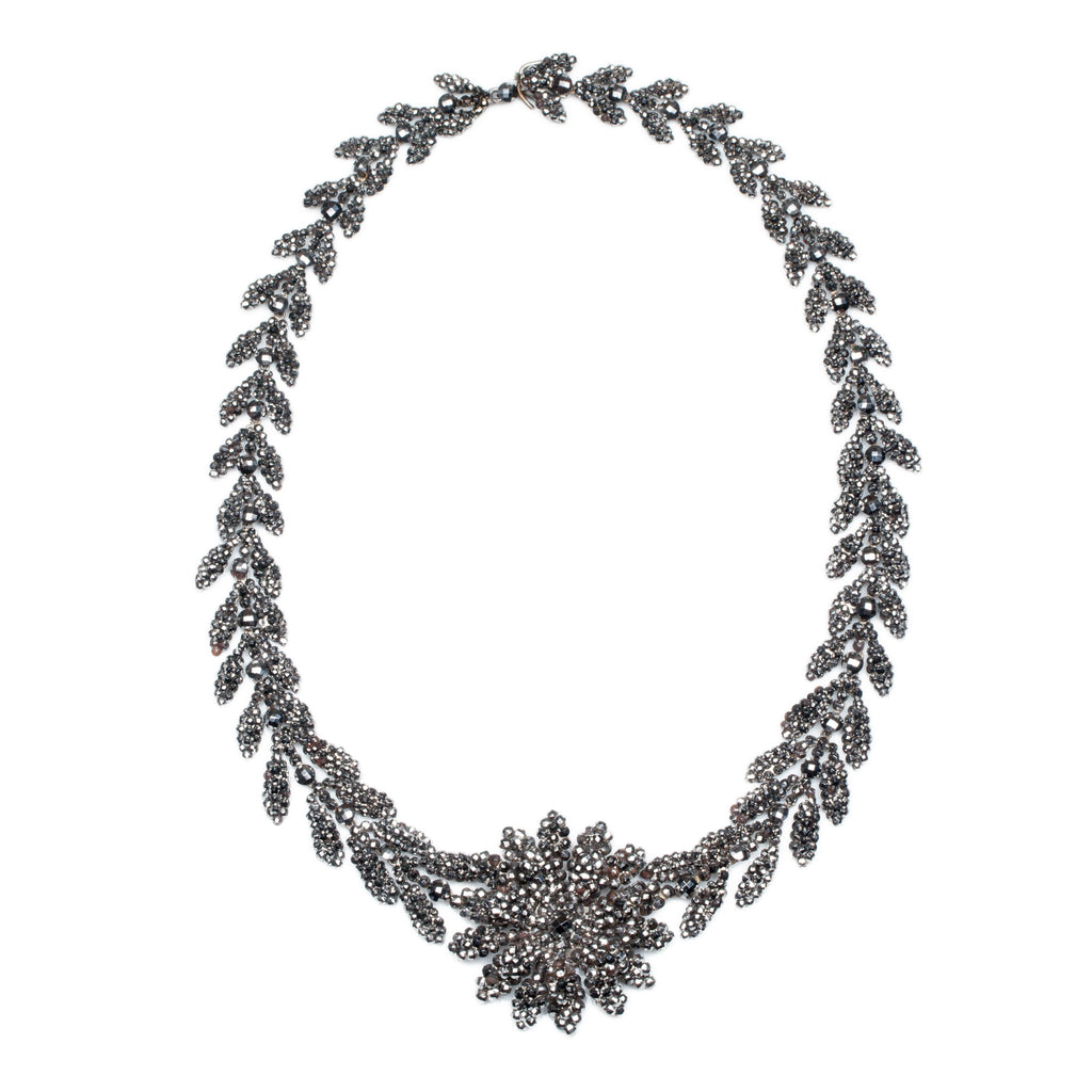 Mid 19th Century Cut Steel Floral Necklace