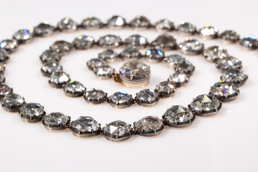 18th Century Rose Cut Diamond Rivière Necklace