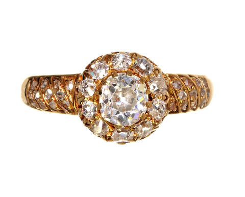 Victorian Old Mine Cut Diamond Cluster Ring with Rose Cut Diamond Band