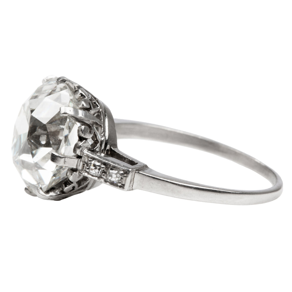 5.8 carat Old Mine Diamond in Art Deco Platinum Ring