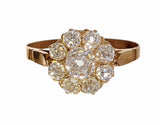 Old Mine Cut Victorian Era Diamond Cluster Ring
