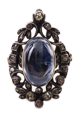 Sapphire & Diamond Hidden Locket  Ring