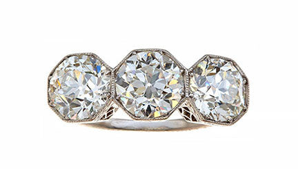 Edwardian Three Diamond Ring