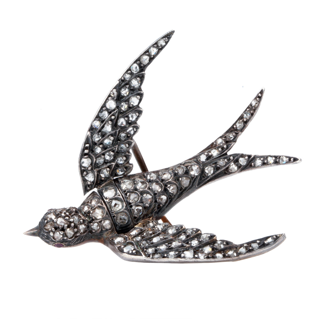 19th Century French Diamond Bird Brooch Reserved*