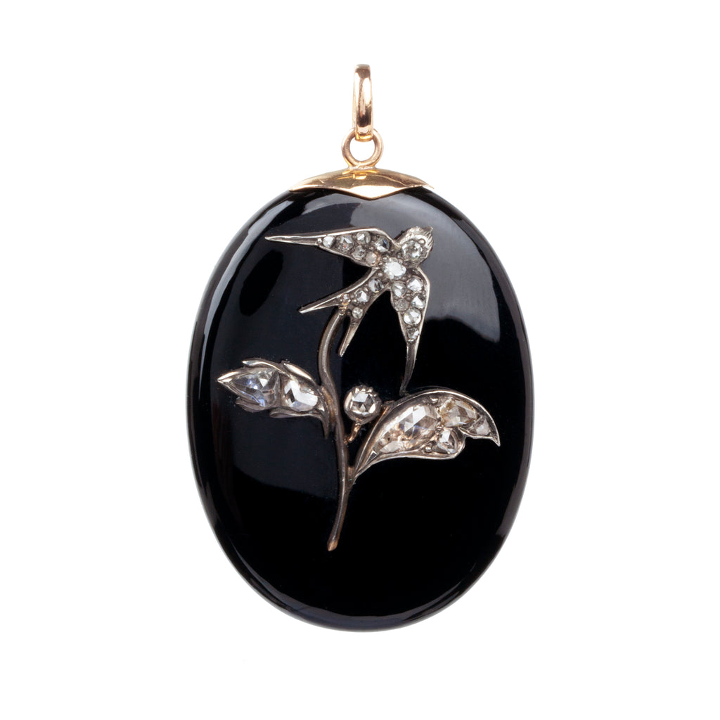 Victorian Era Onyx and Diamond Swallow Locket