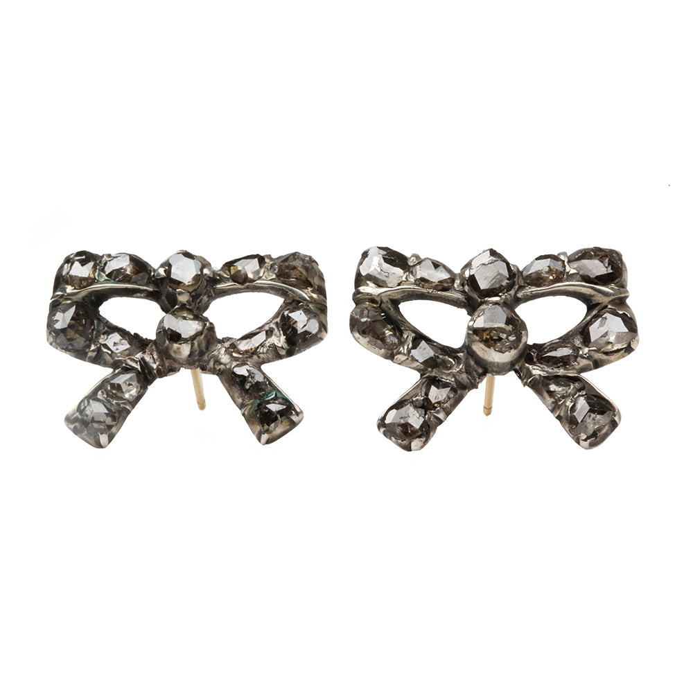 Georgian Diamond Bow Earrings