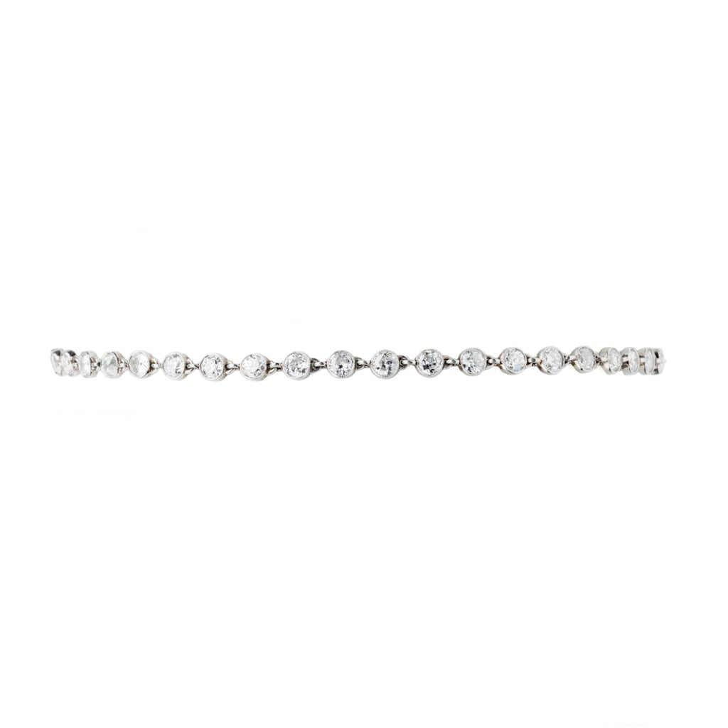 Platinum Art Deco Era Old European Cut Diamond Bracelet
