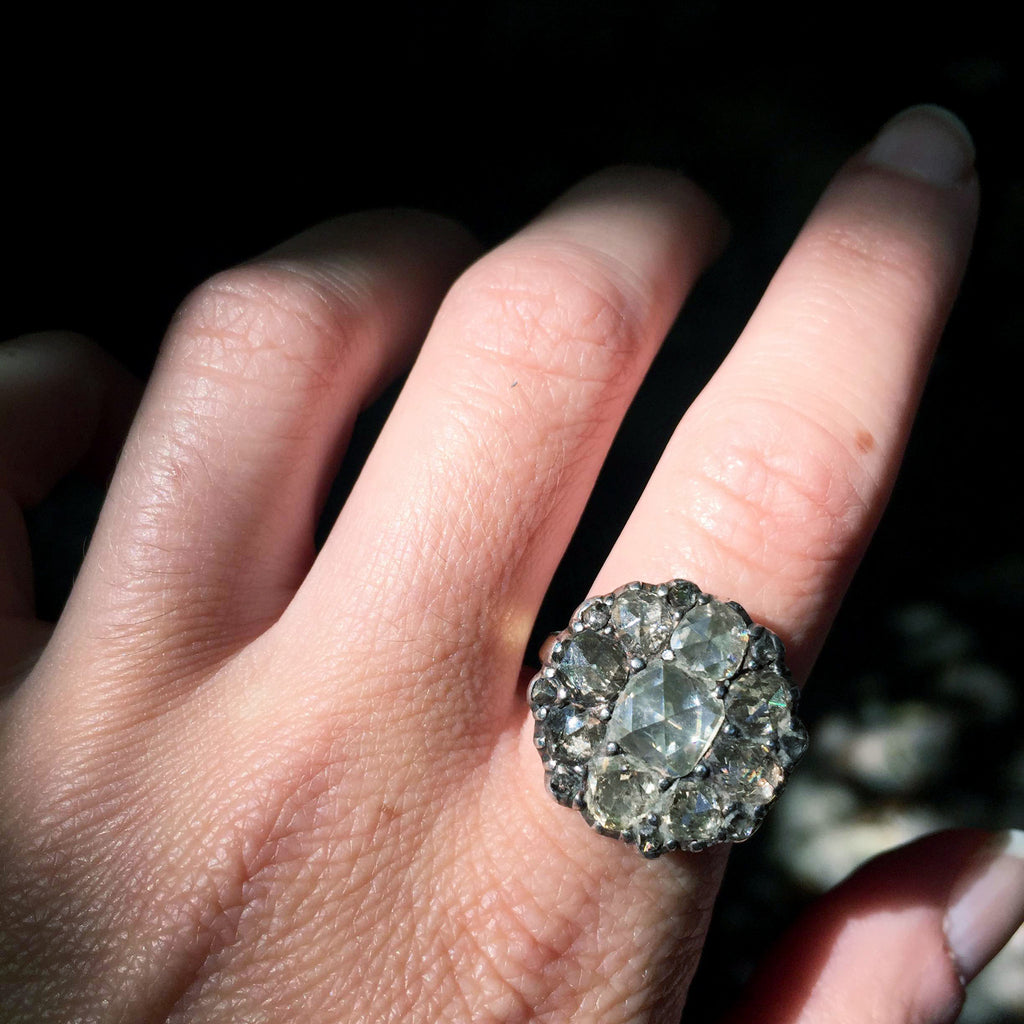 Alternative payment plan ** 18th Century Italian Diamond Cluster Ring