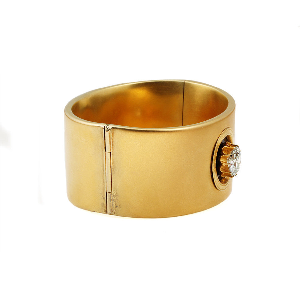 Victorian Gold Bangle with Old Mine Cut Diamond and Hidden Locket