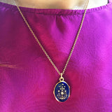 Faith Hope & Charity Blue Enamel Locket