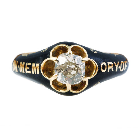 Victorian Old Mine Cut Memorial Ring