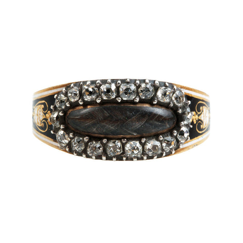 Georgian Old Mine Cut Diamond Mourning Ring
