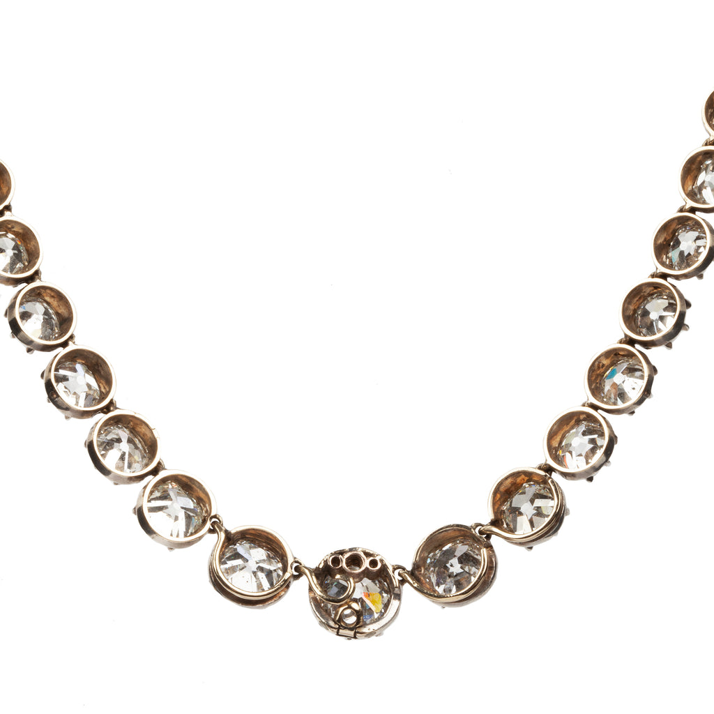 19th Century Old Mine Cut Diamond Riviere Necklace