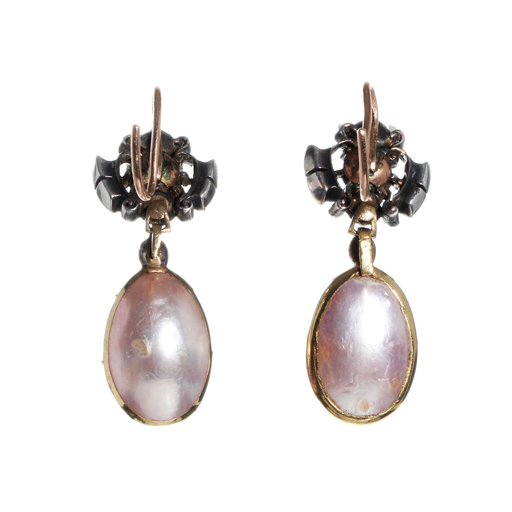 Georgian Era Pink Pearl and Diamond Earrings