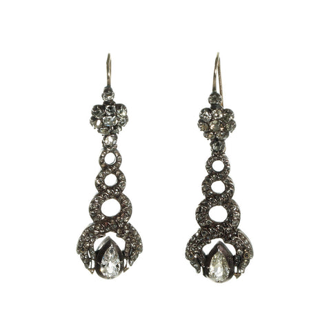Early Victorian Diamond Snake Earrings
