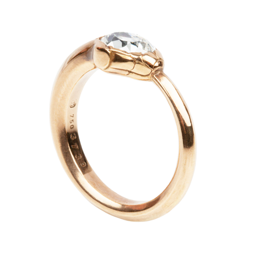 Old Mine Cut Diamond Ouroboros Snake Ring