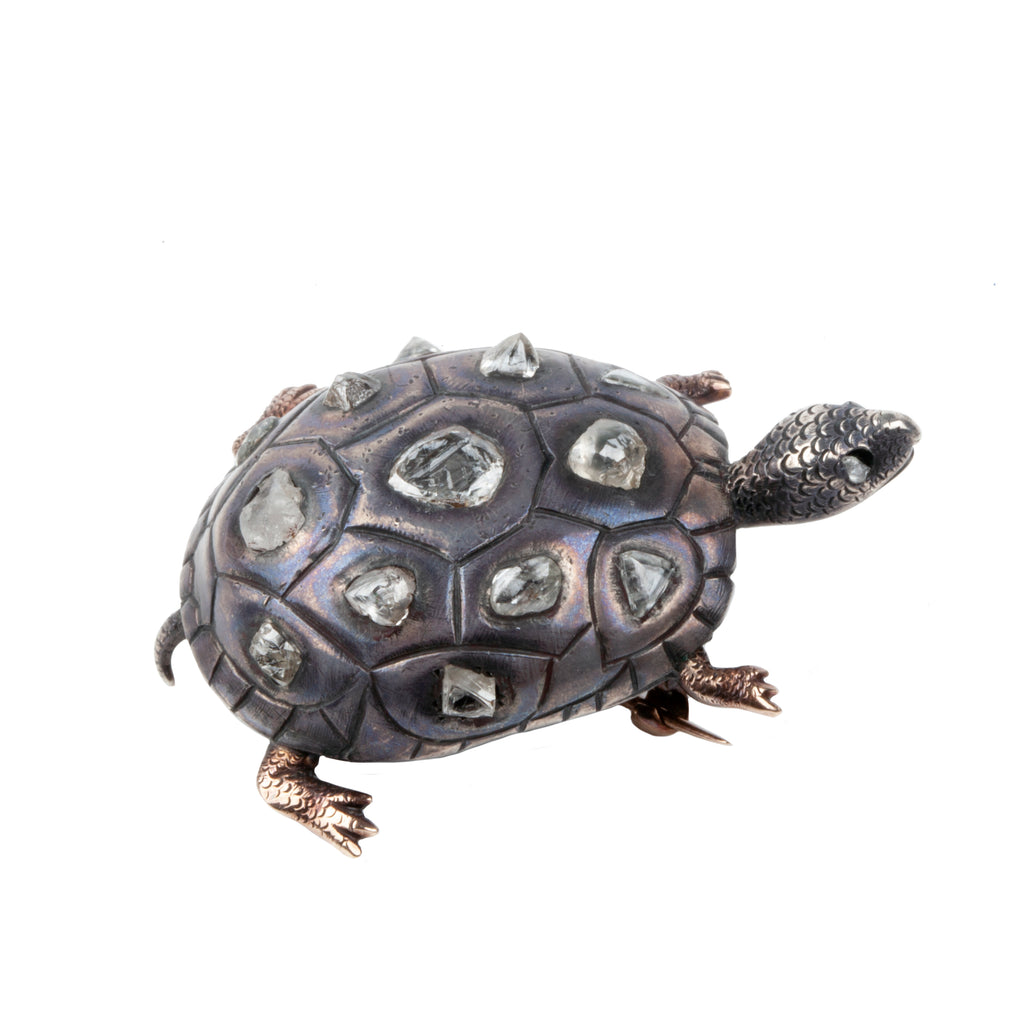 19th Century Turtle Brooch with Uncut Rough Diamonds