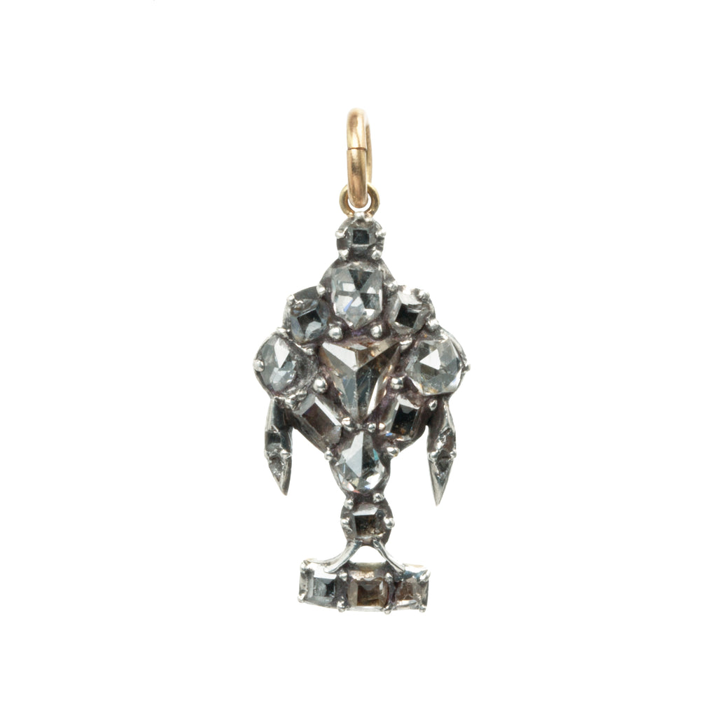 Georgian Rose Cut and Table Cut Diamond Urn Pendant