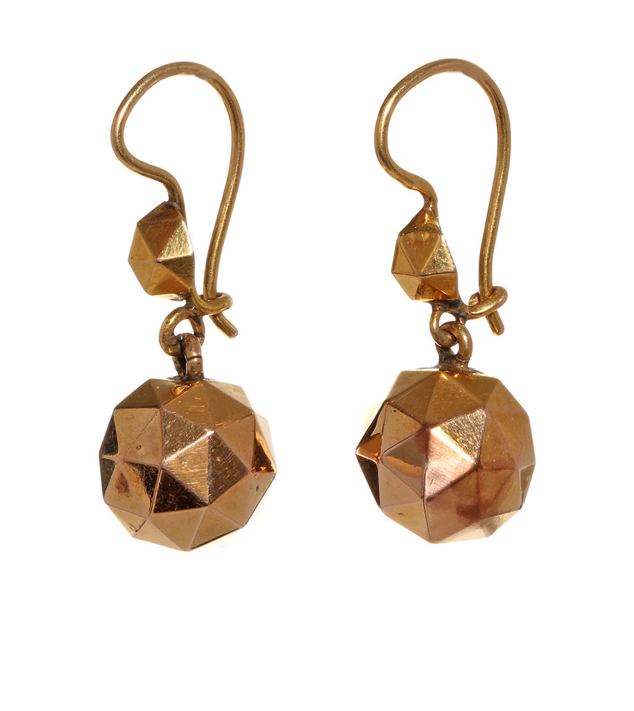 Victorian Rose Gold Facetted Ball Earrings