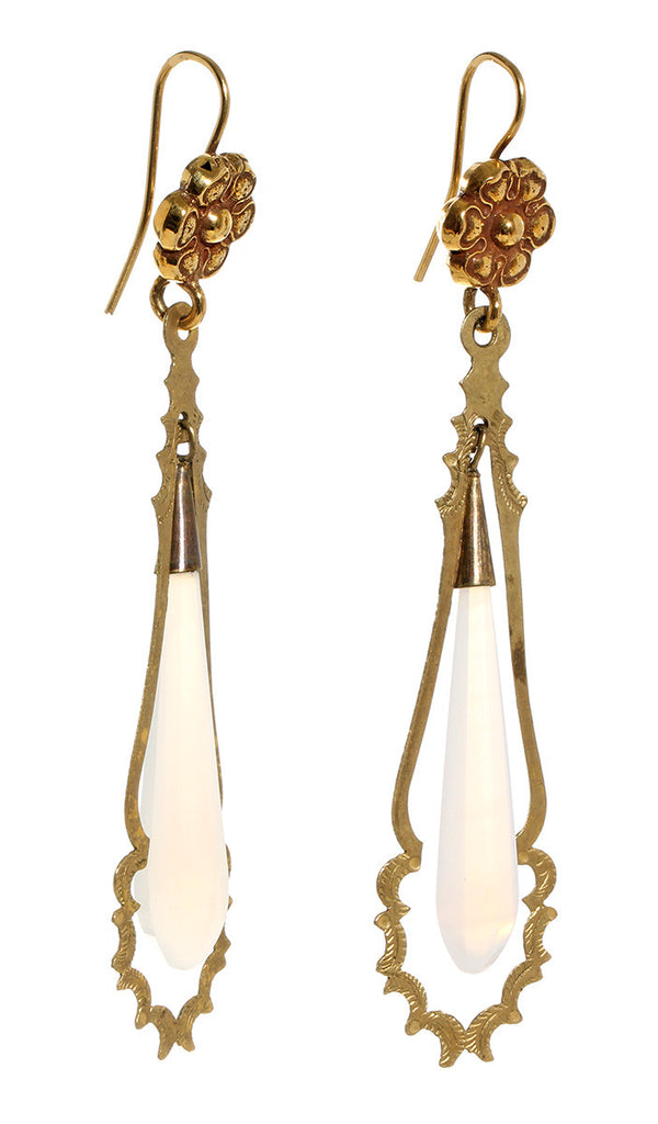 Early 19th Century French Torpedo Earrings
