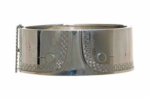 Victorian English Sterling Double Button Shirt Cuff Bangle Circa 1880's