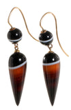 Victorian Banded Agate Elongated Teardrop Earrings