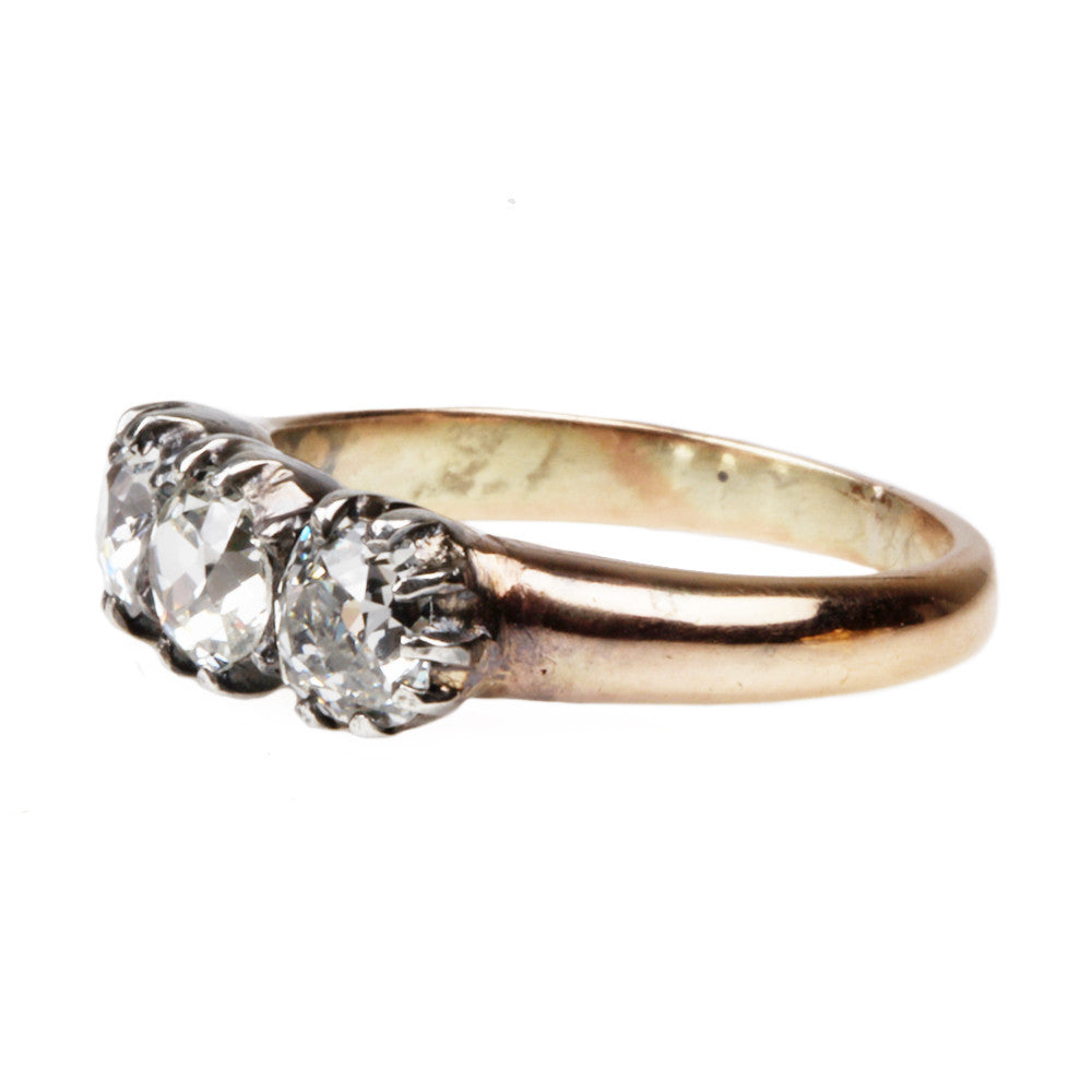 19th Century Three Stone Old Mine Cut Diamond Ring
