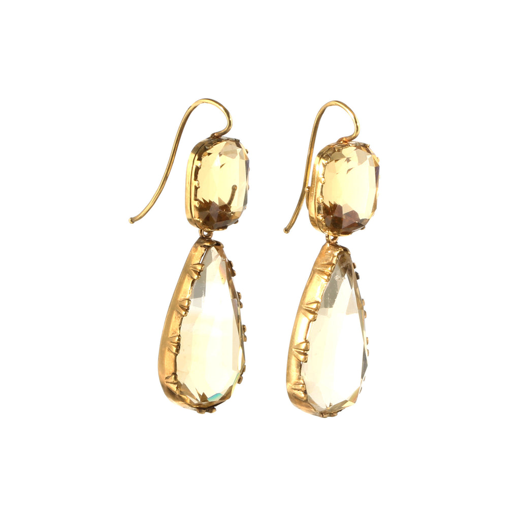 Victorian Citrine & Paste Drop Earrings