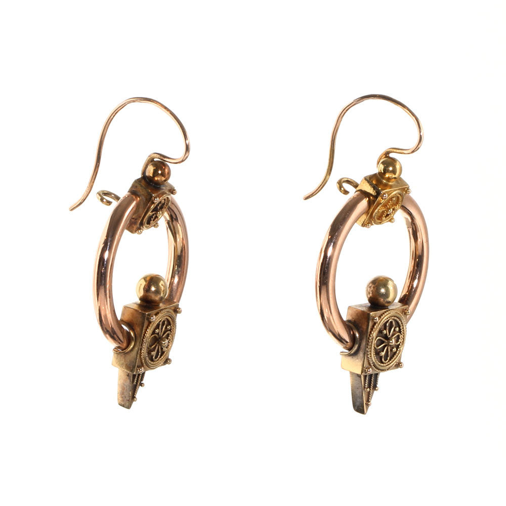 Victorian Era Rose Gold Hoop Earrings