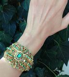 Antique Iberian Style Emerald & Gold Bangle